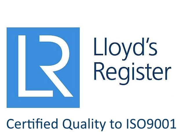 Certified Quality to ISO9001 and the logo of the certifying body, Lloyd's Register